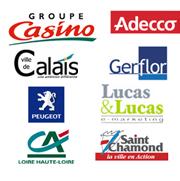 zoom sur quelques références Clients en webdesign et création de sites internet GROUPE CASINO, Adecco,Mairie de Calais, Gerflor, Peugeot, Lucas and lucas, Crédit Agricole, ville de Saint Chamond